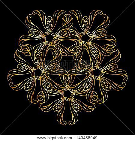 Abstract pattern in floral style and gold colors on black background