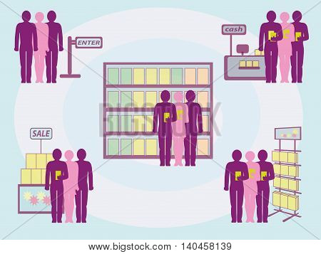 Image customer flow and shopping in the trade hall for your articles