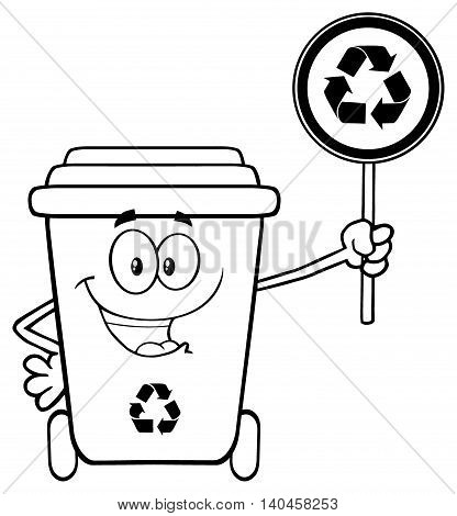 Black And White Cute Recycle Bin Cartoon Mascot Character Holding A Recycle Sign