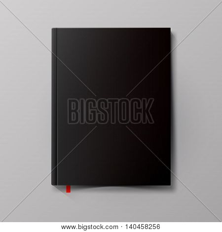 Black blank book cover. Net book template. Vector illustration