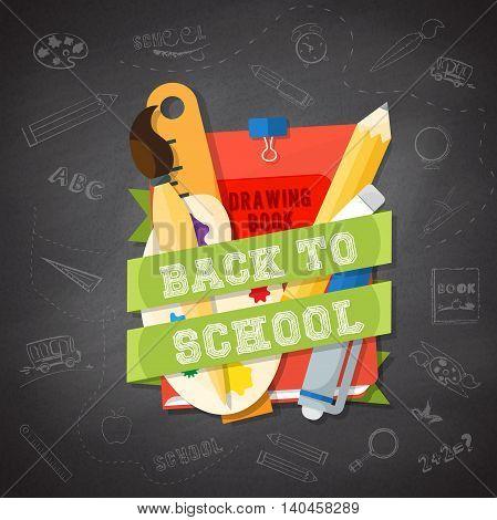 Welcome back to school school supplies. vector illustration.