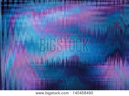 violet and blue blurred abstract background texture with stripes. glitches distortion on the screen broadcast digital