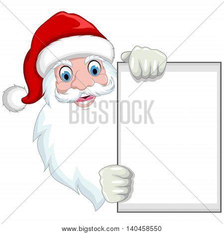Santa clause cartoon holding a blank sign