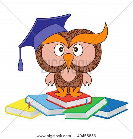 Big funny ornate wise owl in the mortarboard cap sitting on the heap of book cartoon vector illustration isolated on the white background