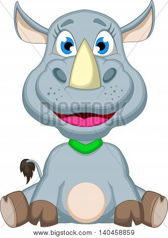 cute baby rhino cartoon sitting for you design