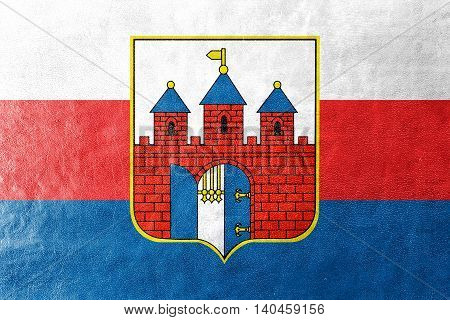 Flag Of Bydgoszcz, Poland, Painted On Leather Texture