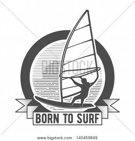 Windsurfing retro label, badge and logotype. Surfer vector. Vintage surf design elements. Surfing logo