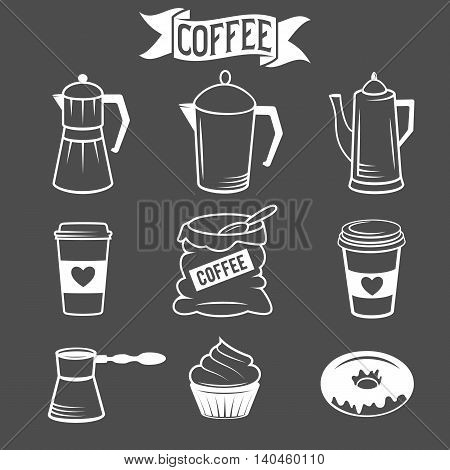 Set of coffee icons isolated over black background. vector illustration