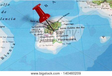 Map with pin point of Ibiza in Spain