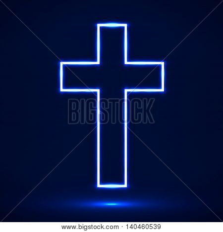 Glowing cross. Christian symbol. Vector illustration. Eps 10