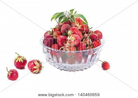 Berries of strawberry in a glass vase
