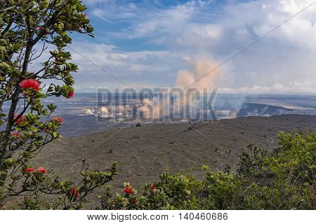 Kilauea Caldera Volcano on the Big Island Hawaii from the Jaggar Museum