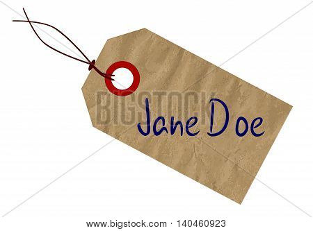A Jane Doe brown paper tag over a white background