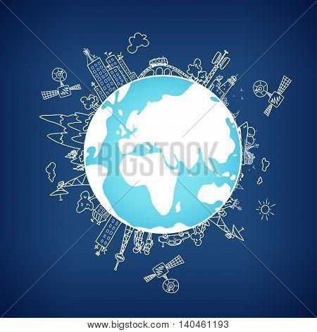 Global information network on the globe satellites antennas, satellite antennas ,repeaters