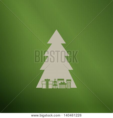 Silhouette of a Christmas tree with gifts on green background