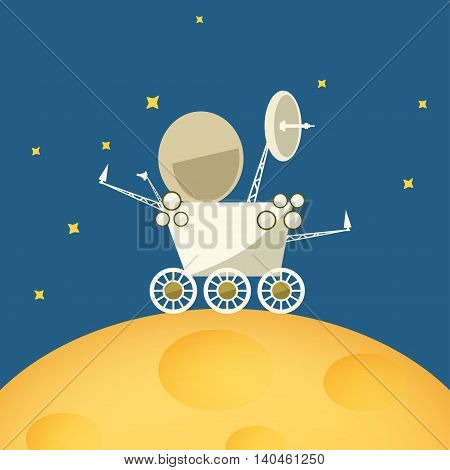 Planet rover on the moon among the stars in space