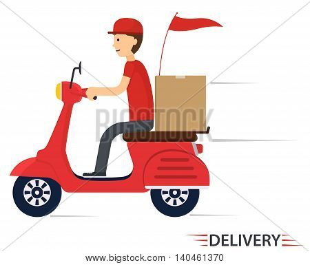 Delivery service on scooter motorcycle. Fast worldwide shipping.