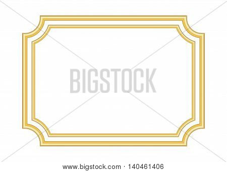 Gold frame. Beautiful simple golden design. Vintage style decorative border isolated on white background. Deco elegant art object. Empty copy space for decoration photo banner. Vector illustration.