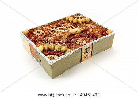 Traditional Korean snack made of a mixture of jujube chestnuts pine nuts or Short sangtteok Yakbap also called