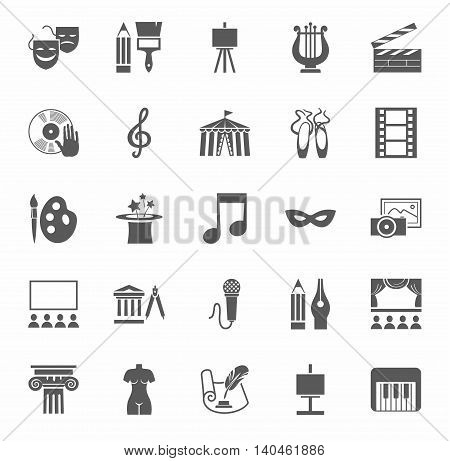 Culture and art, icons, monochrome. Vector icons with pictures of objects and subjects of culture and art. Grey figures on a white background.