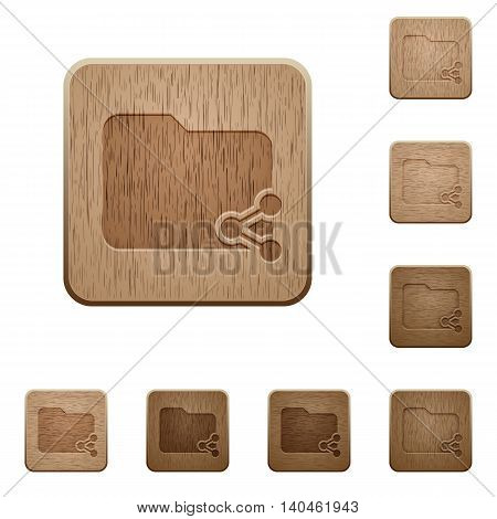 Set of carved wooden Share folder buttons in 8 variations.