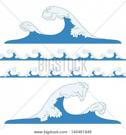 Splashes of sea waves. Tsunami seamless blue waves