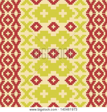 Seamless knitted pattern in retro color palette. Elegant geometric ornament of polygonal shapes. Bright graphic print in folk style. Vector illustration for fashion design