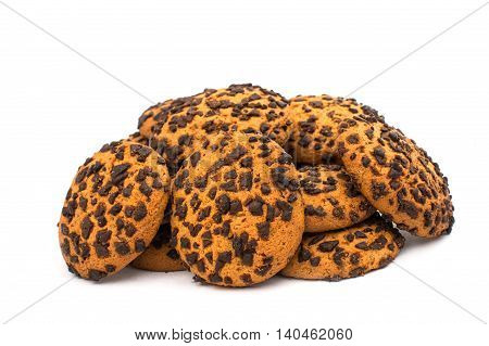 cookies with chocolate on a white background