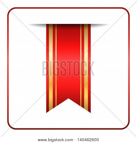 Red and gold bookmark banner. Vertical book mark isolated on white background. Color tag label. Flag symbol sign. Design element blank. Empty sticker for sale. Template icon. Vector illustration