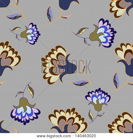 Beautiful hand drawn  pastel floral seamless pattern