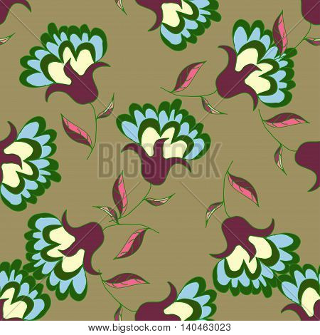 Bright hand drawn seamless pattern with flowers