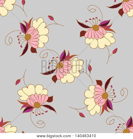 Cute pastel seamless pattern with hand drawn pink flowers