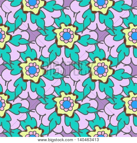 Bright summer seamless pattern with turquoise flowers