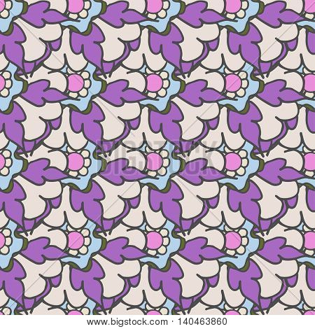 Bright purple hand drawn seamless pattern with floral elements
