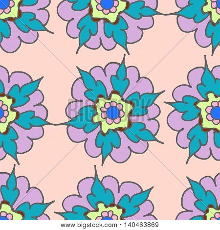 Colorful hand drawn seamless pattern with flowers