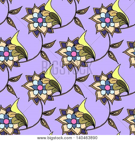 Floral seamless pattern with hand drawn flowers, vector