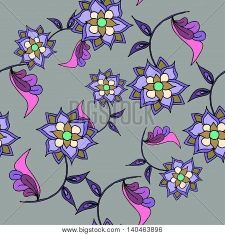 Beautiful hand drawn seamless pattern with purple flowers