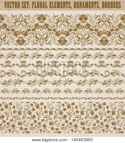 Set of lace borders for design ornate invitation, greeting, wedding, gift card, certificate, diploma, voucher. Seamless floral damask ornament. Page decoration in vintage style. Vector illustration.