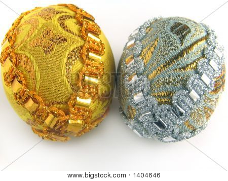 Two Easter Egg Gold And Silver 2