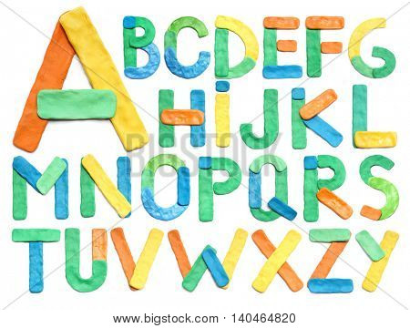 Color plasticine alphabet, isolated.