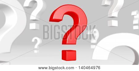 3D illustration of Red question mark standing out from white question marks
