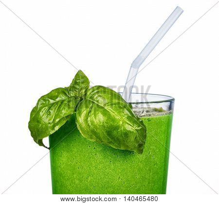 closeup of a glass with green smoothie