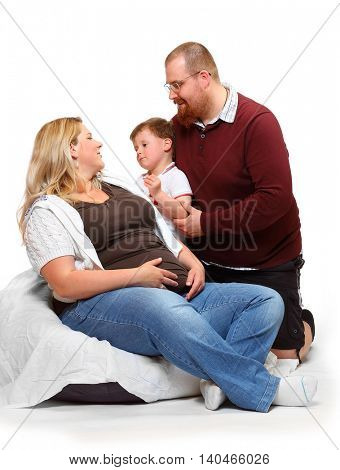 Overweight family. Healthy lifestyle concept. Children and adults on white background. Happy people together.