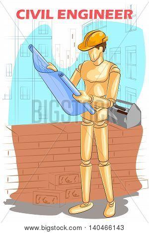 Wooden human mannequin Civil Engineer with blueprint. Vector illustration
