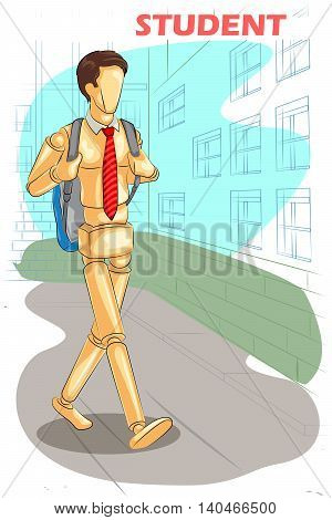 Wooden human mannequin Student walking with bag. Vector illustratio