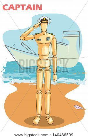 Wooden human mannequin Navy Captain saluting. Vector illustration