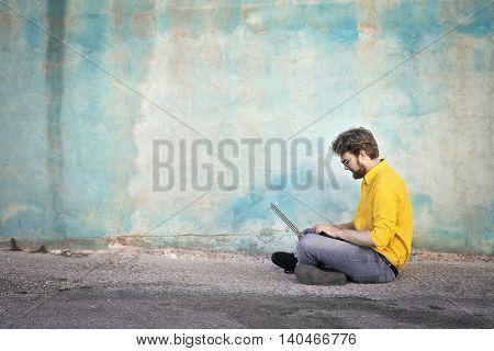Man surfing the Net