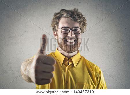 Jubilant successful man
