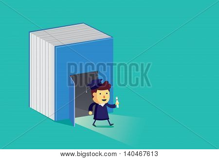 Graduate student walking out from big book. This illustration is a concept of education