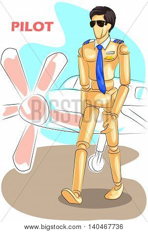 Wooden human mannequin Pilot with airplane in bacdrop. Vector illustration